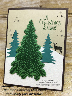 Combine the Carols of Christmas Bundle with the Ready for Christmas Bundle from the Stampin' Up! 2017 Holiday Catalog for a beautiful Christmas card. Created by Kay Kalthoff with Stamping to Share.
