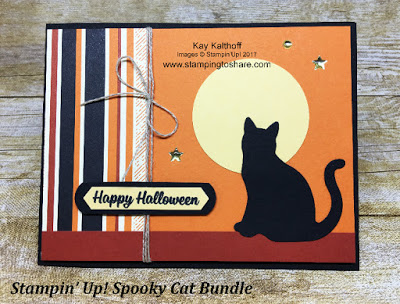 Halloween Card created by Kay Kalthoff with Stamping to Share using the Stampin' Up! Spooky Cat Bundle.