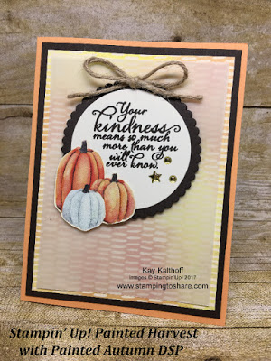 Stampin' Up! Painted Autumn Designer Series Paper with Painted Harvest Stamp Set for a gorgeous fall card. Created by Kay Kalthoff with Stamping to Share.