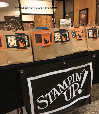 Fall Flair Bags ready to be picked up by customers at our Stamping to Share Fall Flair 2017.