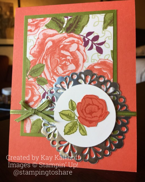 An easy, elegant card with Stampin' Up! Graceful Garden, Includes How To Video. Created by Kay Kalthoff with #stampingtoshare
