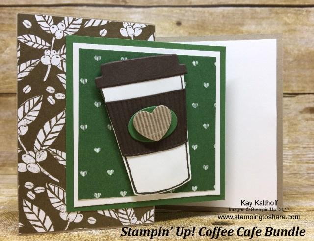 Z-Fold Stampin' Up! Coffee Cafe Bundle Card created by Kay Kalthoff with How To Video for #stampingtoshare