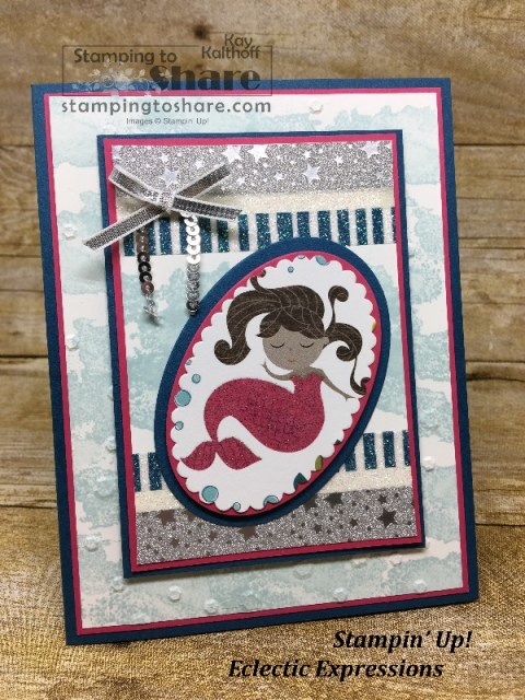 Create a super cute Mermaid Birthday Card with the Myths & Magic Specialty Designer Series Paper and Washi Tape. How to video by Kay Kalthoff with #stampingtoshare