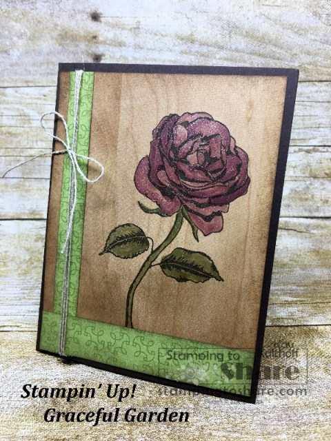 Stampin' Up! Graceful Garden by Kay Kalthoff Watercoloring with Wink of Stella Technique for #stampingtoshare