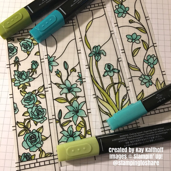 Coloring the Graceful Glass Vellum with Stampin' Blends Kay Kalthoff with #stampingtoshare