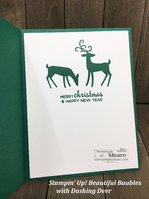 Stampin' Up! Dashing Deer for the inside panel of the Beautiful Baubles Bundle card that uses Under the Mistletoe Designer Series Paper created by Kay Kalthoff for a Fab Friday FB Live at #stampingtoshare