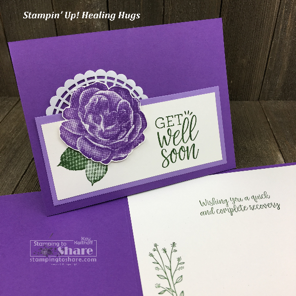 Stampin' Up! Healing Hugs Get Well Card with distINKtive stamping created by Kay Kalthoff for #stampingtoshare