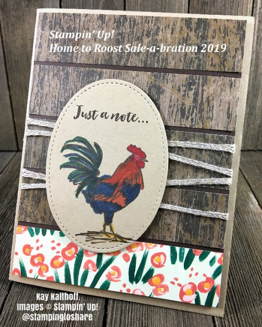 Stampin' Up! Home to Roost with Wood Textures 6x6 Designer Series Paper by Kay Kalthoff for #stampingtoshare