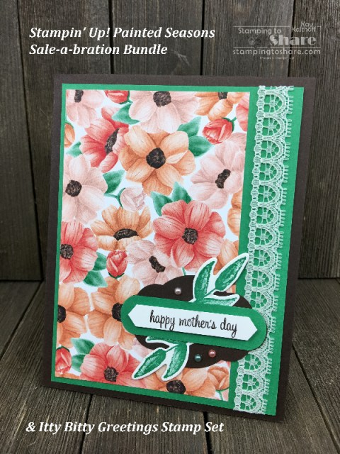 Stampin' Up! Painted Seasons Bundle Mother's Day Card by Kay Kalthoff for #stampingtoshare