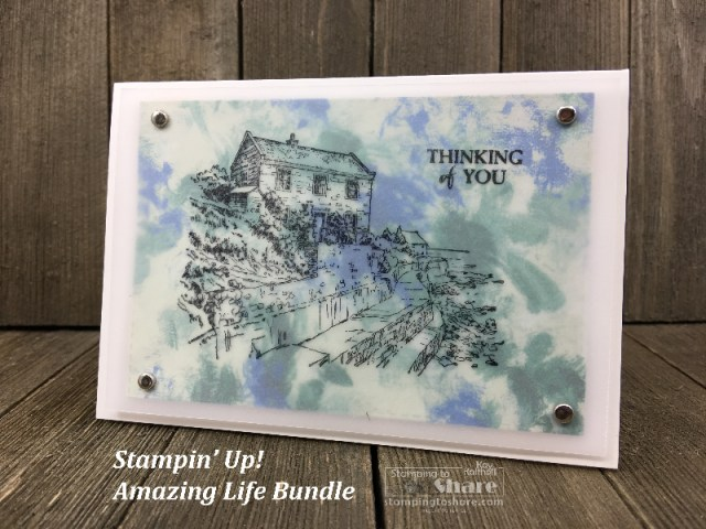 Stampin' Up! By the Bay Sale-a-bration set with Garden Impressions Paper created by Kay Kalthoff for #stampingtoshare