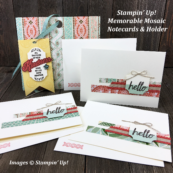 Stampin' Up! Memorable Mosaic Note Card Holder with Mosaic Mood Designer Series Paper along with the Darling Label Punch box Notecards