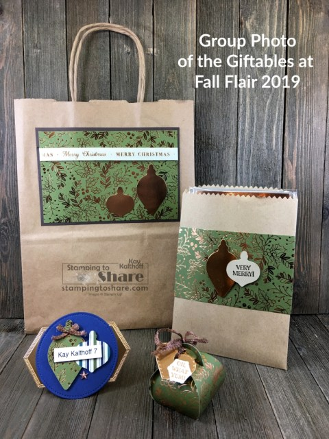 Our Fall Flair 2019 Project Bag, Product Bag, Name Tag and Chocolate Treat Holder all featuring Stampin' Up! Brightly Gleaming Product Suite