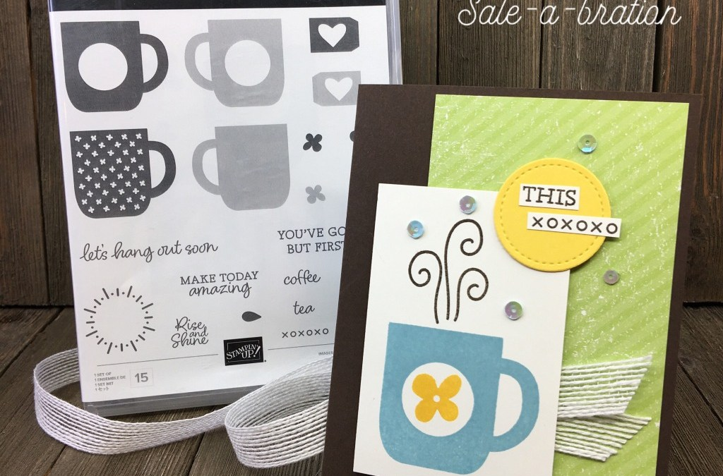 Stampin' Up! Rise & Shine Coffee Card with Sequins