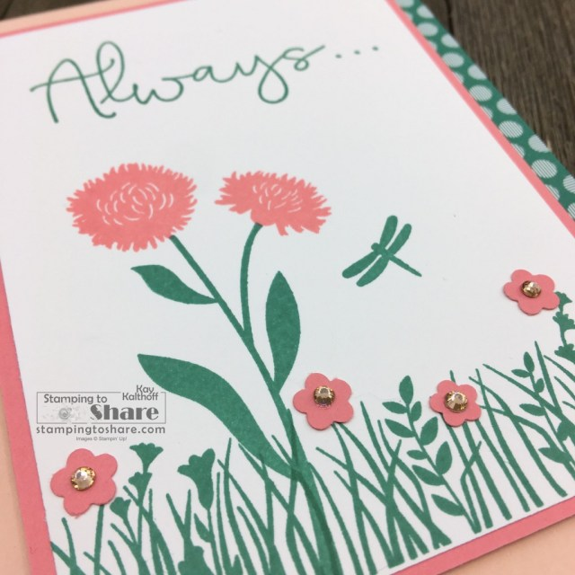 Close up of Stampin' Up! Field of Flowers Bundle thinking of you card