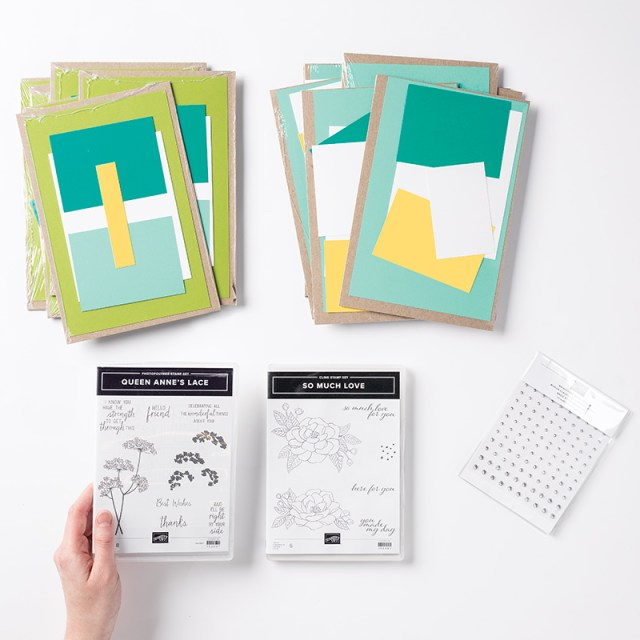 Free 16 card Class from Stampin' Up! with the purchase of the Starter Kit using Queen Anne's Lace and So Much Love Stamp Sets