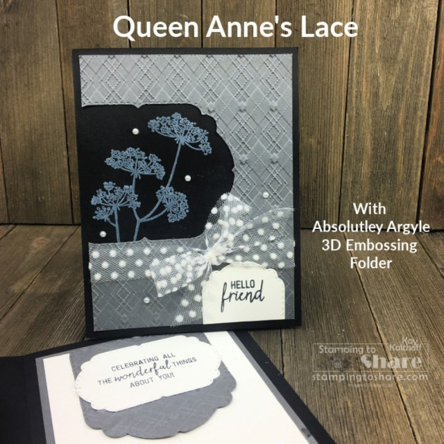 Queen Anne's Lace with White Craft Ink and Absolutely Argyle 3D Embossing Folder