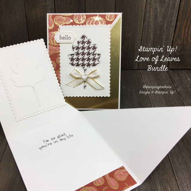 Diagonal Fun Fold Card with Stampin' Up! Love of Leaves Bundle created by Kay Kalthoff at Stamping to Share.