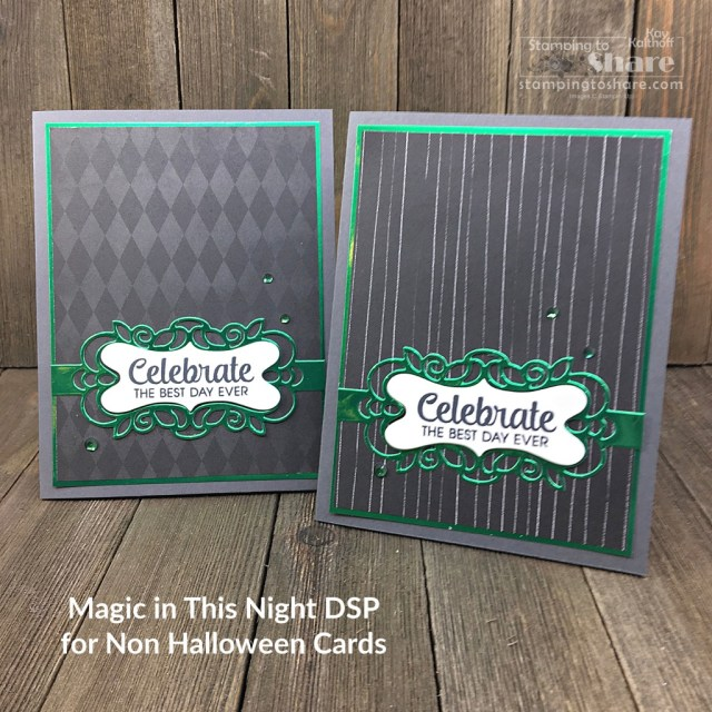 Magic in This Night for non-Halloween Card Making with Detailed Bands Dies created by Kay Kalthoff with Stamping to Share