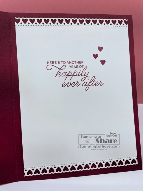 Inside panel for Always in my Heart Bundle from Stampin' Up! for Anniversary Cards created by Kay Kalthoff with Stamping to Share