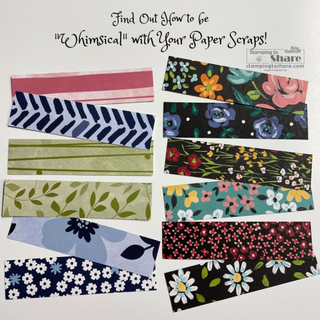Make Whimsical Cards with your Paper Scraps! Kay Kalthoff at Stamping to Share