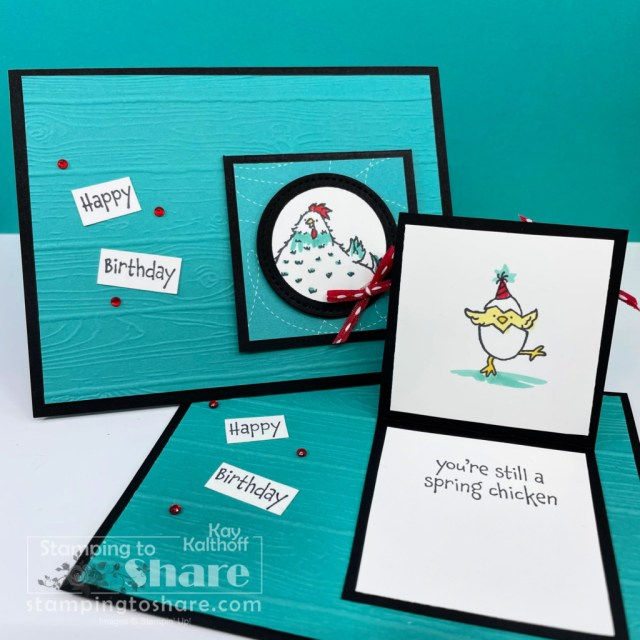 Stampin' Up! Hey Birthday Chick - Little Flip Up Card. Kay Kalthoff with Stamping to Share.