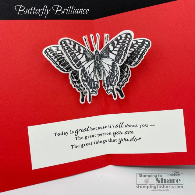 Stampin' Up! Butterfly Brilliance for an inside panel butterfly pop up! Created by Kay Kalthoff with Stamping to Share.
