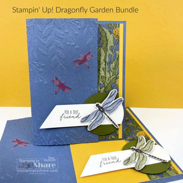 A fun closure card with the Dragonfly Garden Bundle created by Kay Kalthoff with Stamping to Share using Stampin' Up!
