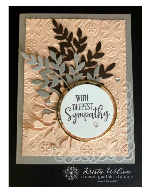 A sweet but simple Sympathy card made with Stampin' up! products featuring the colors Early Espresso, Granite Gray, and Petal Pink.
