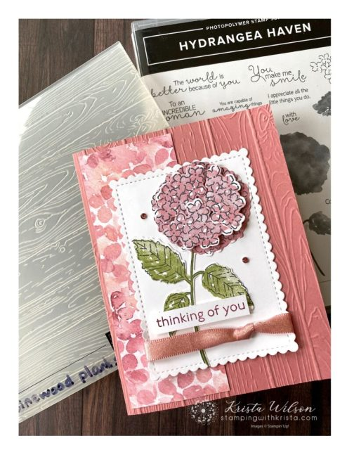 The Pinewood 3D Embossing Folder is also used which adds texture to this card.