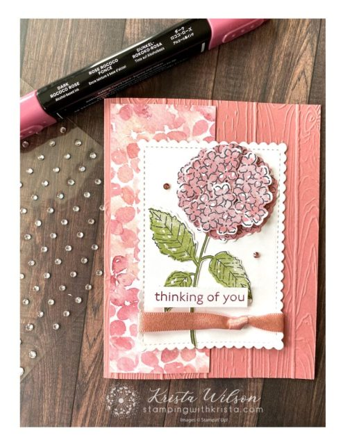 Basic Rhinestone Jewels are colored with Stampin' Blends to coordinate then adhered to the card.