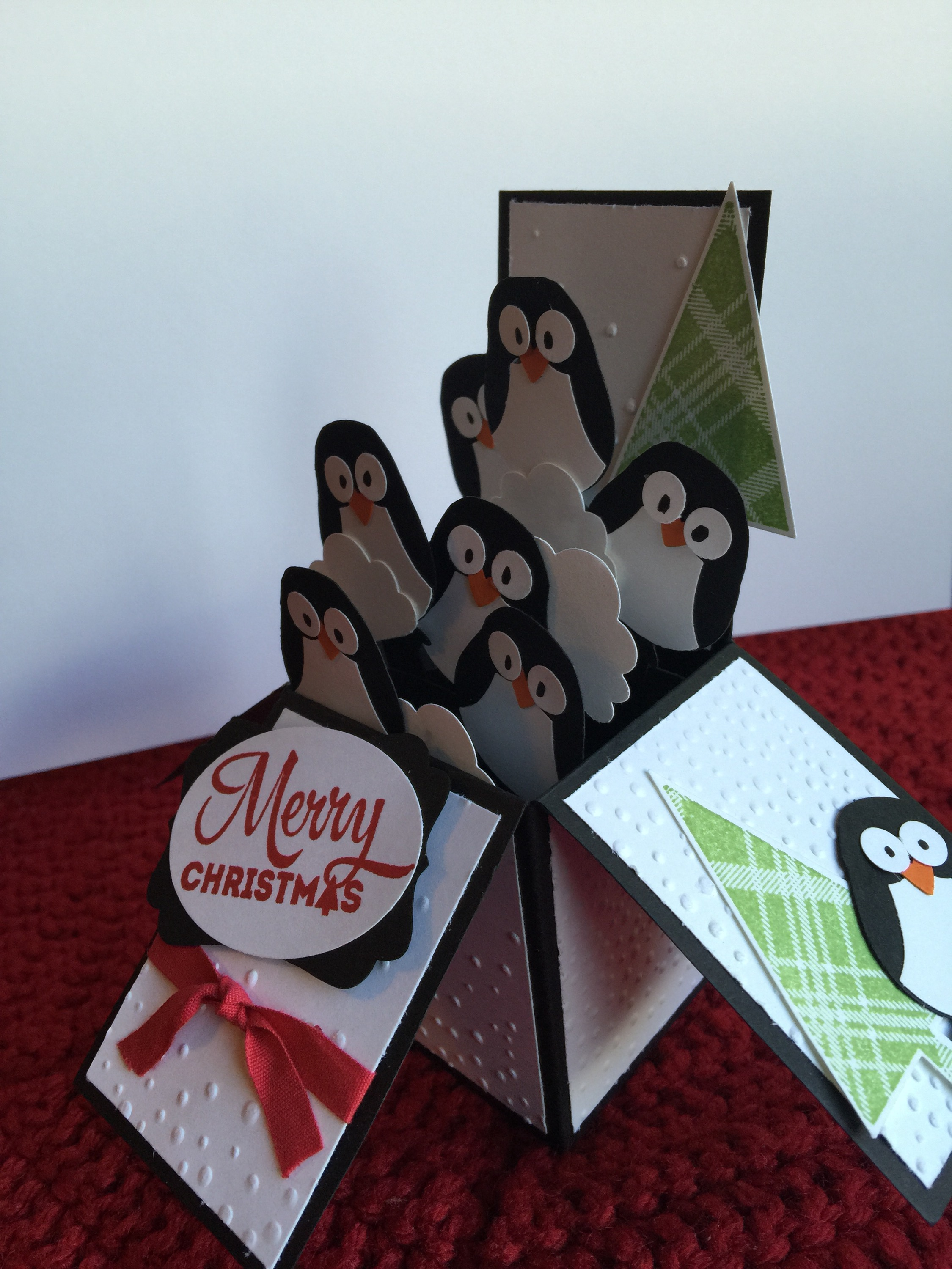 Penguin Box Christmas Card Made From The Stampin Up Owl