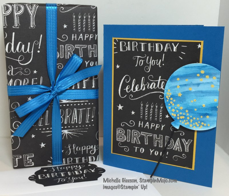 StampinMojo, SU Celebrate Today, Paper Source Birthday Wrapping Paper