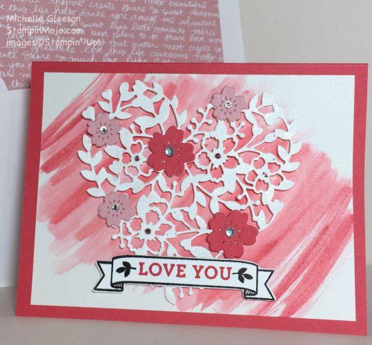 StampinMojo, Blooming' Heart, Watercolor Wash