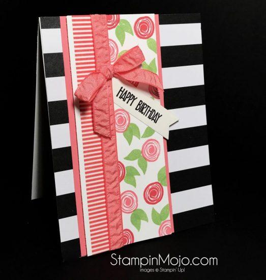 Stampin Up Swirly Bird Pop of Pink DSP Birthday card Michelle Gleeson Stampinup