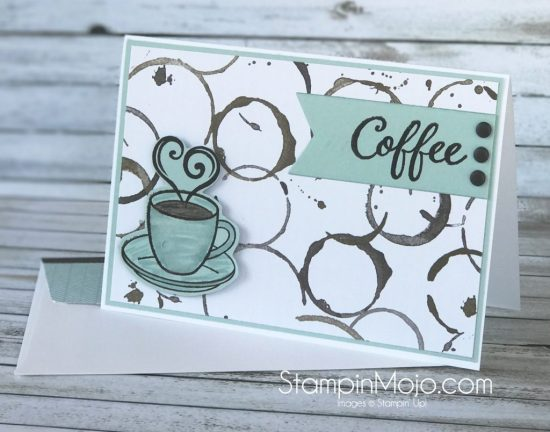 Stampin Up Coffee Break DSP Sugar Pea Design The Perfect Blend Coffee Addict Thinking of You card idea Michelle Gleeson