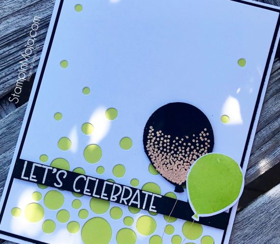 CTS261 Neat & Tangled Falling Circles Die SU Balloon Celebration Avery Elle Banner Bits Birthday card Michelle Gleeson