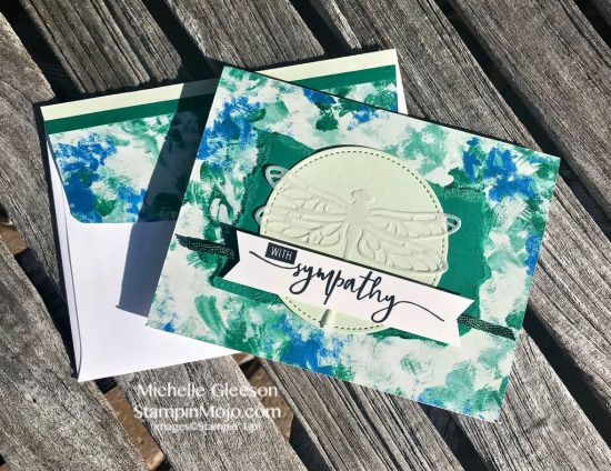 Stampin Up Abstract Impressions DSP Detailed Dragonfly Thinlits Sympathy card ideas Michelle Gleeson Stampinup SU