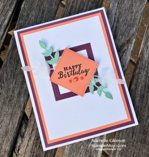 Stampin Up GDP145 Color Challenge Birthday Card Ideas Stiched Framelits Detailed with Love Michelle Gleeson Stampinup SU