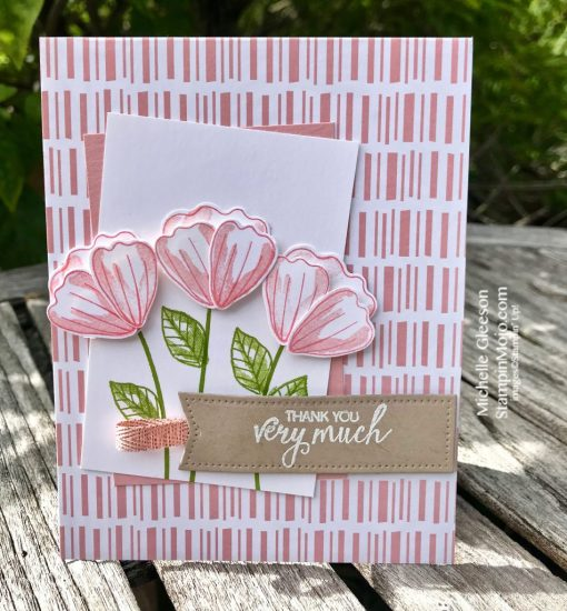 Stampin Up Tropical Chic DSP Bunch of Blossoms Thank You card idea Michelle Gleeson Stampinup SU