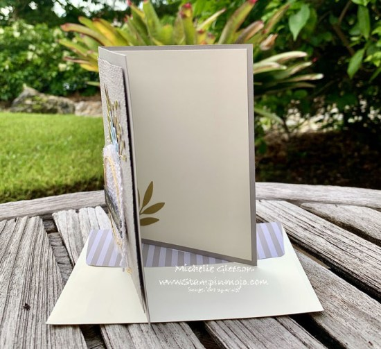 Stampinup Forevaer Greenery Suite #PPC384 Hot Foil Sentiment Anytime Card inside peek Michelle Gleeson Stampinup SU