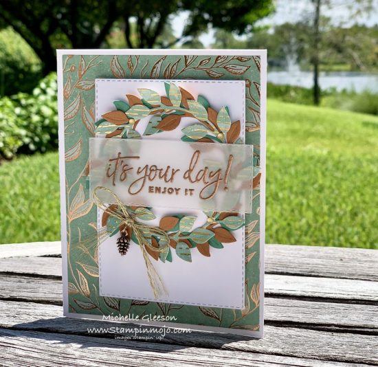 Stampin Up PALS Blog Hop Guilded Sutumn DSP Arrange a Wreath Dies Birthday Card Ideas Michelle Gleeson Stampinup SU