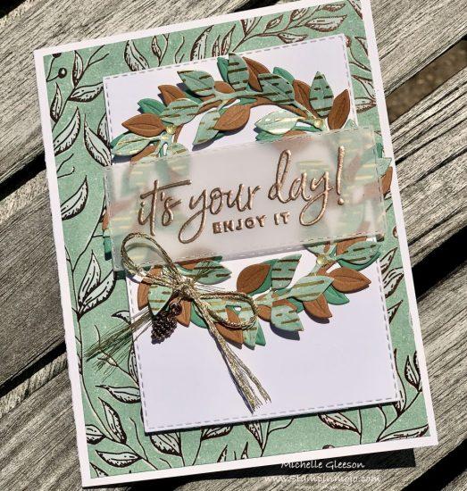 Stampin Up PALS Blog Hop Guilded Sutumn DSP Arrange a Wreath Dies Birthday Cards Michelle Gleeson Stampinup SU