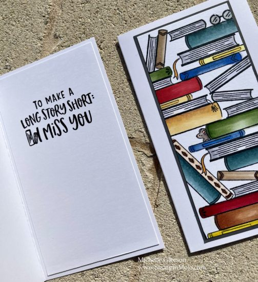 Hero Arts Book Stacks Literally the Best Thinking of you card idea inside peek Michelle Gleeson