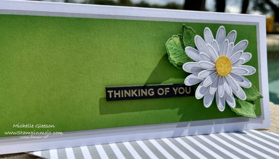 Stampin Up Daisy Lane Daisy Punches Celebrate Sunflowers Hot Foil Sentiments Anytime Slimline Card idea Michelle Gleeson Stampinup SU