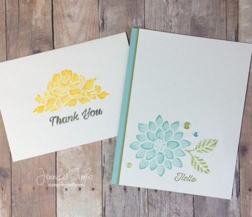 Watercolor Pencils and Ink - Jen Timko | Stampin' Up Watercolor Pencil Blending on Flourishing Phrases and Floral Phrases stamp sets