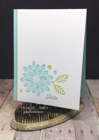 Flourishing in Blue by Jen Timko | Watercolor Pencils and Ink on Flourishing Phrases Stamp Set by Stampin' Up