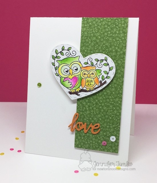 Woodland Duos Owl Card by Jen Timko | Woodland Duos Stamp Set by Newton's Nook Designs #newtonsnook