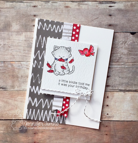 A Little Birdie by Jen Timko   Inky Paws Challenge #40, Newton's Birthday Flutter Stamp Set, Newton's Nook
