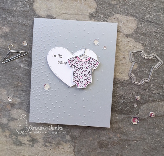 Hello Baby by Jen Timko | Lovable Laundry Stamp Set by Newton's Nook Designs, Darling Hearts Dies by Newton's Nook Designs, Softly Falling Textured Embossing by Stampin' Up, Sparkling Clear Sequins by Pretty Pink Posh