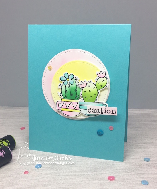 FMS292 by Jen Timko | Cuppa Cactus Stamp and Dies by Newton's Nook Designs, Chameleon Pens Coloring